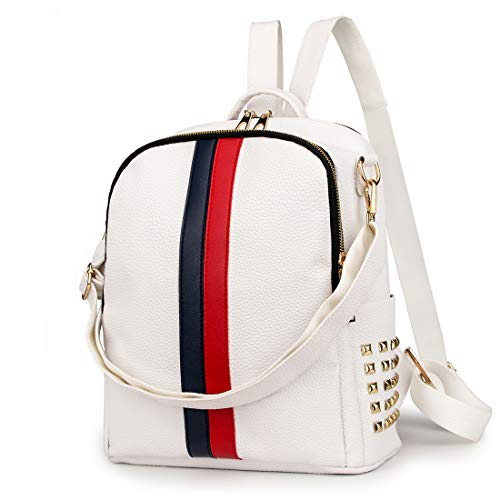 Small Backpack Purse Alovhad Cute Daypack Leather Women Fashion iPad Backpack Bag (Big White)
