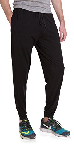 Woolly Clothing Men's Merino Wool Jogger Sweatpant - Wicking Breathable Anti-Odor M BLK