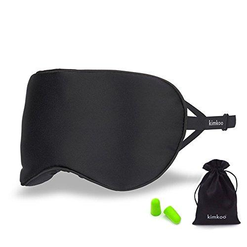 Kimkoo Sleep Mask Eye Mask-Soft Silk Eye Masks for Sleeping with Adjustable Strap&Blindfold for Men and Women,Great for Travelling,Black