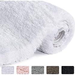 "Lifewit Bathroom Rug Bath Mat Non-Slip Rubber Microfiber Soft Water Absorbent Thick Shaggy Floor Mats, Machine Washable, White, 24""x16"""