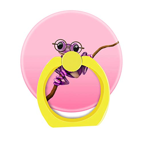 (Bsxeos 360 Degree Rotation Cell Phone Ring Holder Mobile Phone Finger Stand with Car Mount Stand Work for All Smartphone and Tablets-Cute Purple Tree Frog with Eye Glasses On Pink)