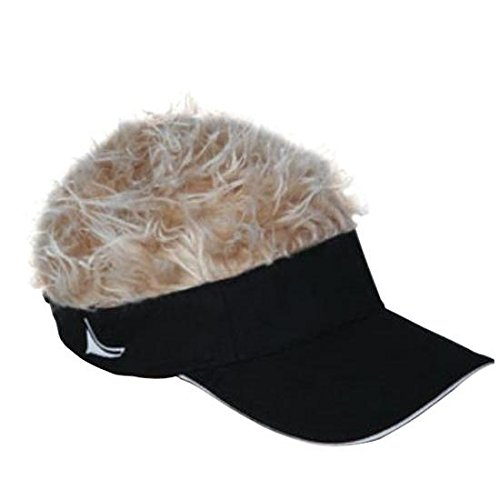 Flair Hair Black Visor with Blonde Hair