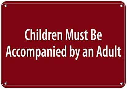 Sar54ryld Schild Children Must Be Accompanied by An Adult Pool, Aluminium, 30 x 45 cm