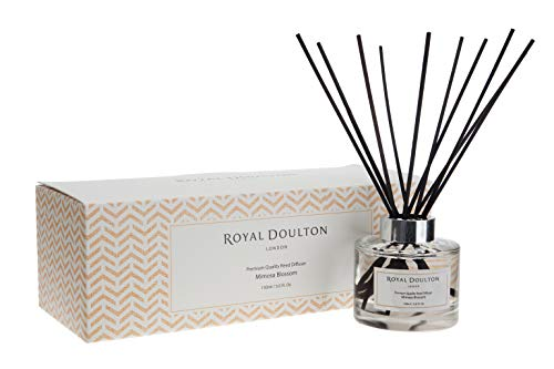 Royal Doulton Luxury Premium Scented Rattan Reed Diffuser - Mimosa Blossom - Glass, Gift Set, Rattan Reed Sticks. Long Lasting Natural Scented (5+ Months) 150 ml / 5. Oz