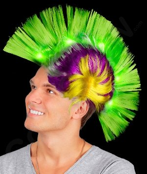 Mohawk Wigs (Fun Central AD154 LED Light Up Mohawk Wig - Green Yellow and Purple)