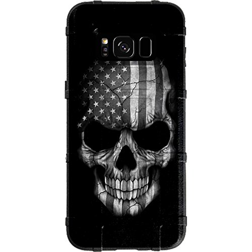 (EGO Tactical Limited Edition Design UV-Printed onto a MAG934 Field Case Compatible with Samsung Galaxy S8 (Not for Plus or Active) Black & White Subdued USA Flag Skull)