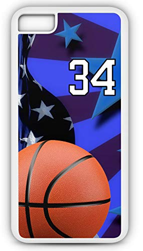 iPhone 8 Case Basketball BK020Z Choice of Any Personalized Name or Number Tough Phone Case by TYD Designs in White Plastic and Black Rubber with Team Jersey Number 34 (Necklace Jasper Fabric)