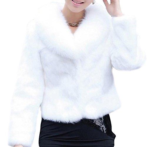 Manteau Fausse Fourrure Femme Cardigan Veste Longue Parka Manteaux  Manches Longues Outwear White