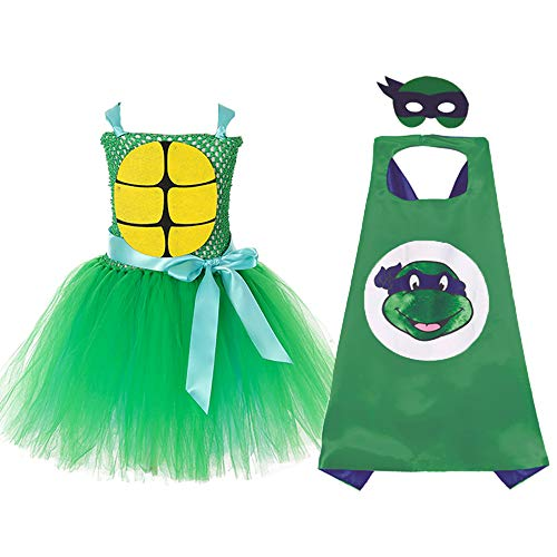 Girls Teenage Mutant Ninja Turtles Costume. Tutu dress, Leonardo Cape, Mask
