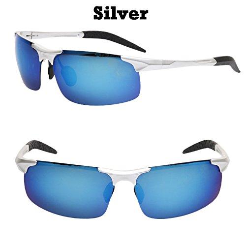 las bastidor plata en resplandor gafas de TIANLIANG04 sol tan de anti UV400 lentes aluminio magnesio gafas de automóvil sesgados hombres Argento deslumbramiento gqSccEWX4R