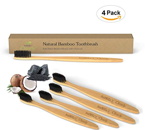 Isabella's Clearly BAMBOO Toothbrush, Gentle Soft Charcoal Infused Nylon BPA-Free Bristles, Eco-Friendly, Biodegradable....
