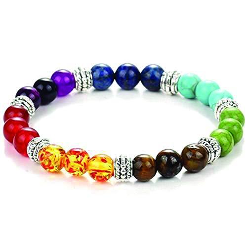 Inspired Elm 7 Color Chakra Natural Healing Stretch Bracelet - Semi Precious Stones - Amethyst Tigers Eye ()