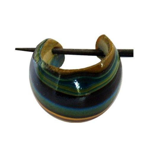 Bois Chic-Net cerceau boucles d'oreilles boucles d'oreilles broche broche Boucles d'oreilles coco bois dames de résine bijoux Blue Orange