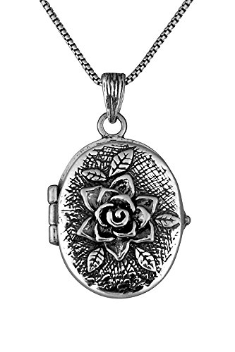 Child Oval Locket (.925 Sterling Silver Rose Oval Locket Pendant by Paz Creations Fine Jewelry, Made in Israel)