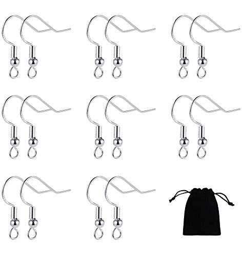 FRIUSATE 40 Pairs 925 Sterling Silver Earring Hooks, Fish Hook Earrings Ear Wires with Ball French Wire Hooks with Jewelry Bag for DIY Jewelry Findings