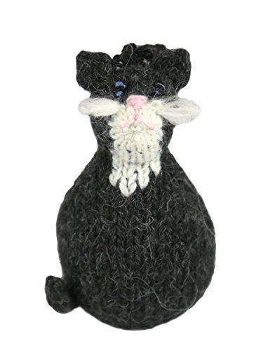 Global Handmade Hope Alpaca Tuxedo Kitty Cat Ornament - Black and White/Dark Grey and White Coloring - Fair Trade - Hand Knit in Peru