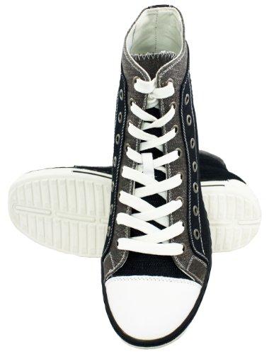 K-CALDEN 882899-7,62 cm, altezza (3) aumentare Scarpe alte da uomo, in tela, colore: nero/grigio