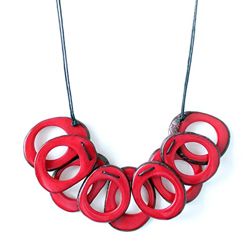 Slices Tagua Necklace in Red Handmade