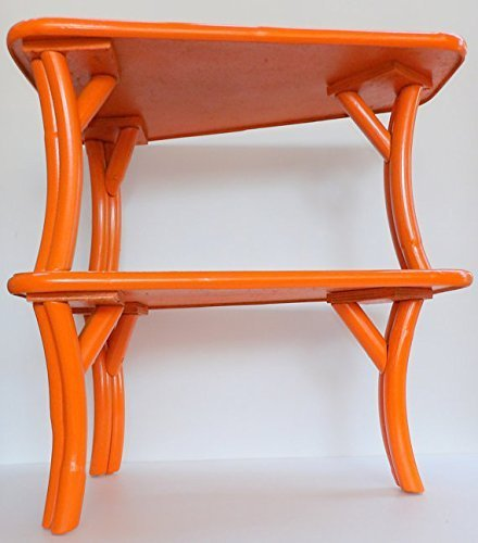 Amazoncom Mid Century End Table Orange Bamboo Formica Pair Handmade - Mid century modern formica table