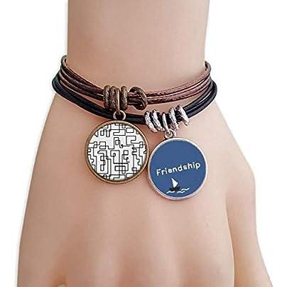 Hexagon Line Art Grain Illustration Pattern Friendship Bracelet Leather Rope Wristband Couple Set Estimated Price -