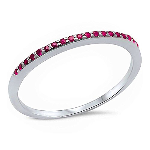 1.5mm Half Eternity Wedding Band Ring 925 Sterling Silver Simulated Ruby, (Ruby Pave)