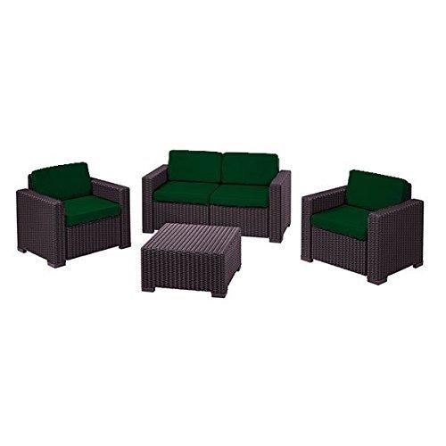 Außen Wasserfest 8 Stück Sitzkissen Set für Keter Allibert Kalifornien Garten Terrassen Möbel Set, Erhältlich in 11 Farben - Grün