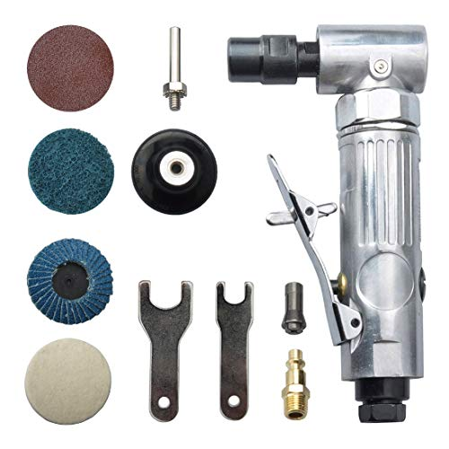 """angle air die grinder 1/4"""" with 4 pcs 2"""" roll lock sanding discs, polished color angle pneumatic die grinder"""