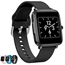 Fitness Tracker Heart Rate Monitor,Smart Watch for Android Phones,Activity Tracker With Full Touch Screen,Step Counter, Blood Pressure Pedometer For Walking for Women and Men&kids (black, one)