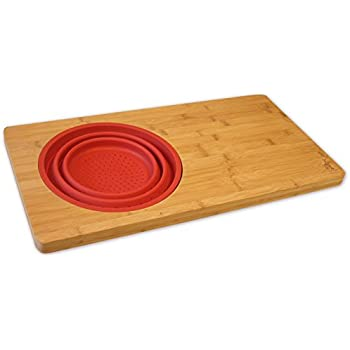 Over The Sink 23 Inch Bamboo Cutting Board With Colander, Fits Over
