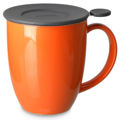 FORLIFE Uni Brew-in-Mug with Tea Infuser and Lid, 16-Ounce, Carrot (Orange Mug With Lid compare prices)