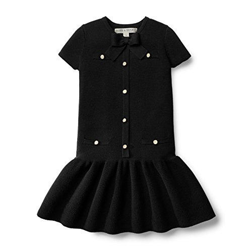 Hope & Henry Girls' Black Milano Stitch Sweater Dress Made with Organic Cotton Size 2T by Hope & Henry