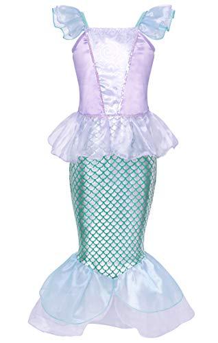Jurebecia Princesa Vestidos Niñas Sirenita Disfraz Fiesta de Cumpleaños Mermaid Manga Larga Outfit con Accesorio Púrpura…