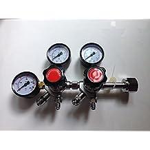 "Dual CO2 Gauge Regulator with 1/4""MFL Checkvalves, Homebrew CO2 Regulator, 0~2000psi, 0~60psi, CGA320"