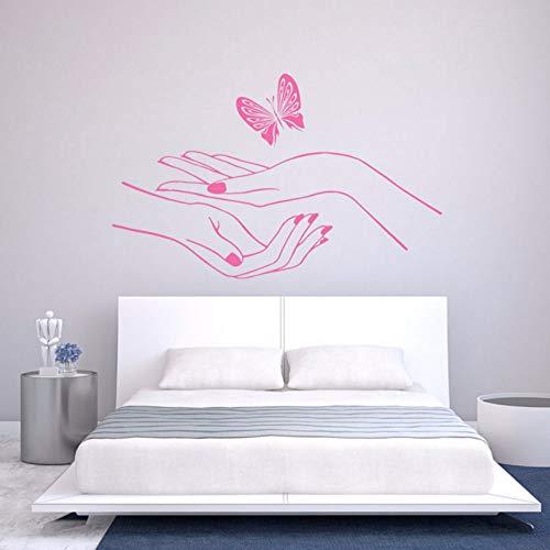 Pbldb 68X42Cm Wall Decal Vinyl Pink Sticker Bedroom Hand Manicure Nail Salon Cute Butterfly Wall Sticker -