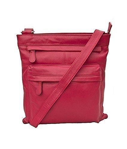 Prime Hide - Bolso de Mano de Piel Suave Grande Cruzado en 9 Fantásticos Colores. 985 Rojo