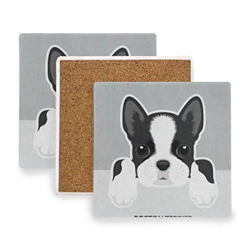 Boston Terrier Puppy Funny Pets Animals Coasters, Prevent Furniture from Dirty and Scratched, Square Wood Coasters Set Suitable for Kinds of Mugs and Cups, Living Room Decorations Gift Set of 4