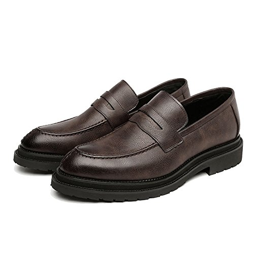 Smooth da uomo Dimensione Outsole Business Slip EU Gentlemen Scarpe Upper Color Oxfords Mocassini amp;Baby Resistente Brown on Sunny Frosted Leather Nero PU 42 all'abrasione XRwYIAqS