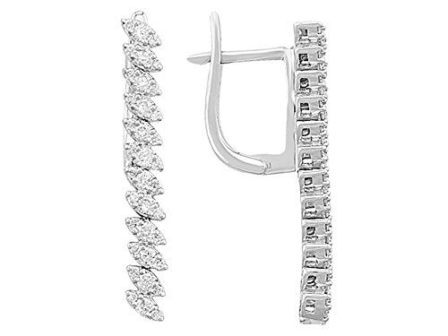Boucles d'Oreilles Chute Diamants-Femme- or Blanc 206E0004