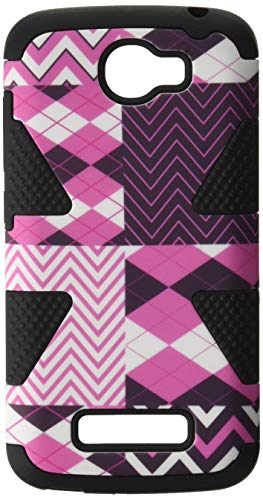 HR Wireless Alcatel One Touch Fierce 2 7040T Pop Icon A564C Dynamic Slim Hybrid Cover Case - Retail Packaging - Hot Chevron/Black (One Touch Phone Case Chevron)