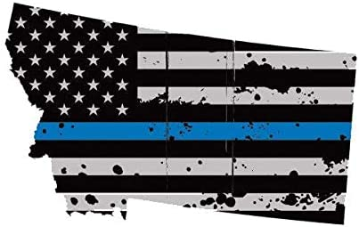 Distressed Montana State Shaped Subdued US Flag Thin Blue Line Sticker police MT