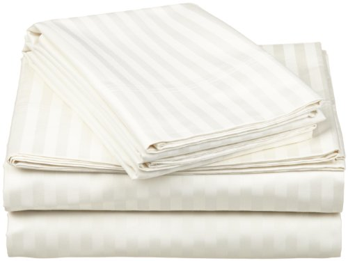 100% Egyptian Cotton 650 Thread Count Queen 4-Piece Sheet Set, Deep Pocket, Single Ply, Stripe, Ivory