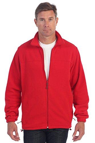 Gioberti Mens Full Zip Polar Fleece Jacket, Red, Medium