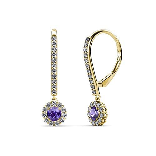 TriJewels Iolite and Diamond Halo Dangling Earrings 0.51 ctw in 14K Yellow Gold