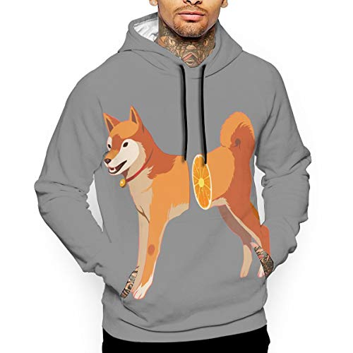 Men's Pullover Hooded Sweatshirt Akita Dog Hoodies Cozy Drawstring Kangaroo Pockets White ()