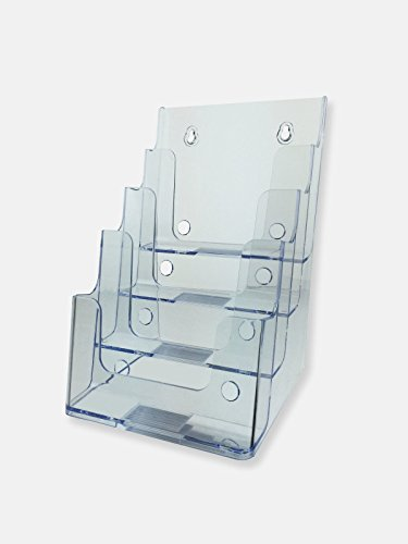 O-stand Tall Desktop Literature Racks - Deflecto 77901 Four-tier multi-compartment medium size docuholder, 6-1/2wx6-1/4dx10h, clear
