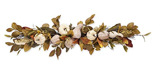 Indoor Outdoor Fall Splendor Decorative Swag with Faux Leaves, Pine Cones, Pumpkins, and Gourds 32 L x 7 W (Pumpkins White Faux)