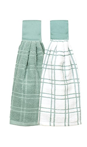 Ritz Kitchen Wears 100% Cotton Checked & Solid Hanging Tie Towels, 2 Pack, Dew, 2 Piece