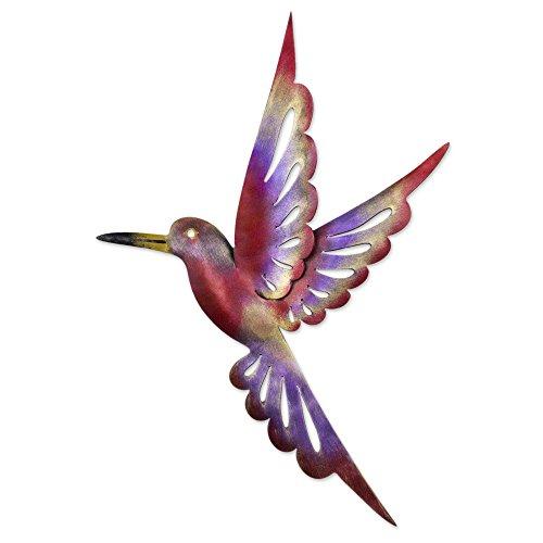 NOVICA 177415 Rosy Hummingbird' (15 inches) Iron Wall Sculpture, 15