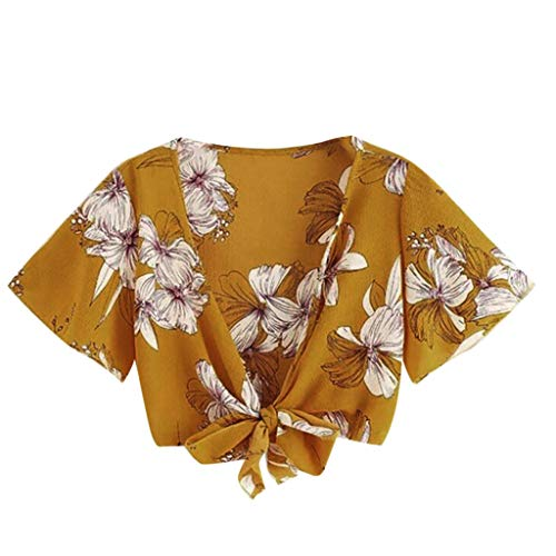 LUCA Women Floral Printing Bandage Hollow Shirt Cold Shoulder Sleeveless Vest Tank Tops Blouse(Brown,L) -