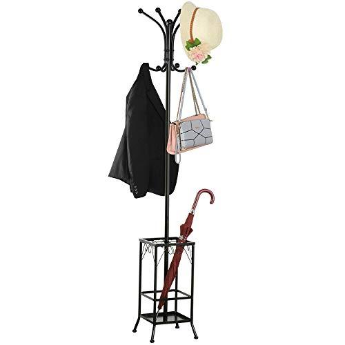Scrolled Coat Rack - Hall Tree Metal Coat Rack Umbrella Holder Hat Hooks Clothes Storage Stand Hanger